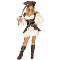 Sexy Pirate Wench Ruffle Dress Halloween Costume