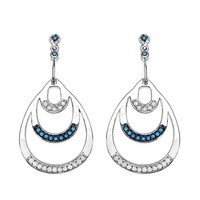 0.52 Carat Genuine Blue Diamond & White Diamond .925 Sterling Silver Earrings