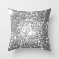 Silver Gray Throw Pillow by WhimsyRomance&Fun