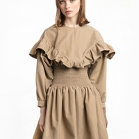 Smocked Waist Ruffle Khaki Dress
