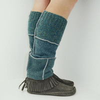 Leg Warmers in Sea Blue - Recycled Wool Sweater