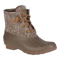 Women's Saltwater Heavy Linen Duck Boot in Olive by Sperry - FINAL SALE
