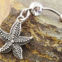 Starfish Belly Button Ring Belly Piercing by MidnightsMojo on Etsy