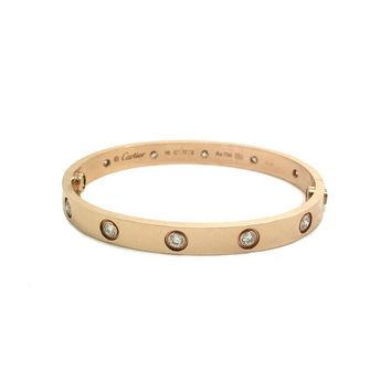 Cartier Love Bracelet 18k Rose Gold with 10 Diamonds Size 16