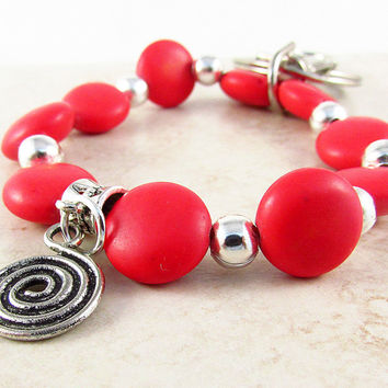 Red Coral Wristlet Keychain