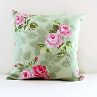 Rose print pillow cover, 16 inch cushion cover in green pink rose print 100% cotton pink flower print Handmade in the UK
