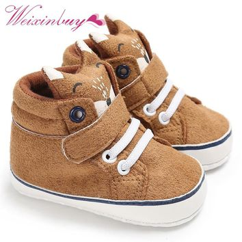 1 Pair Autumn Baby Shoes Kid Boy Girl Fox Head Lace Cotton Cloth First Walker Anti-slip Soft Sole Toddler Sneaker