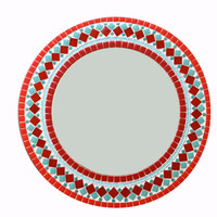 Red and Teal Round Mosaic Wall Mirror