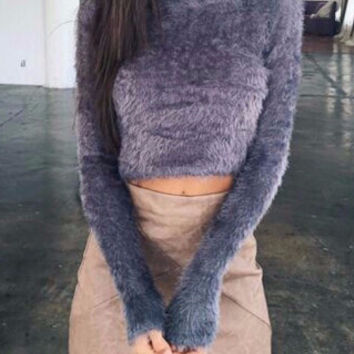 Analia Fuzzy Crop Top Sweater