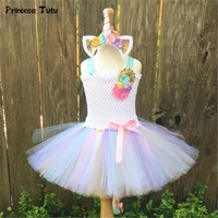 Rainbow Pony Unicorn Tutu Dress Girl Kids Christmas Halloween Costume Fancy Baby Girl Birthday Party Dresses With Headband 1-14Y