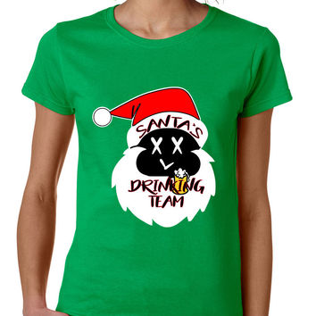 Women's T Shirt Santa's Drinking Team Ugly Xmas Funny Gift