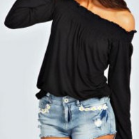 Black Off The Shoulder Long Sleeve T-Shirt