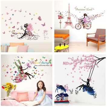 Butterfly Flower Fairy Wall Stickers for Kids Rooms Bedroom Decor Diy Cartoon Wall Decals Mural Art PVC Posters Children's Gift