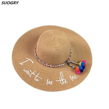 1b3d8666052 New English Embroidery I want to see the sea Parent-Child Big Ea. Item Type Sun  Hats ...