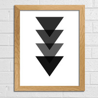 Triangle Art Geometric Print Black Triangle Art Printable Art Black and White Wall Decor Wall Art Home Décor Triangle Abstract Art Print Art