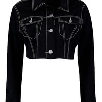 Contrast Stitch Crop Denim Jacket | Boohoo