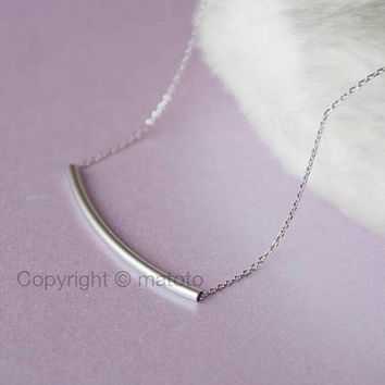 Silver Bar Necklace, Curved Bar Necklace, Slim Bar Necklace, Sideways Bar Necklace