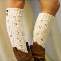 LW18 ivory crochet leg warmer with 2 buttons