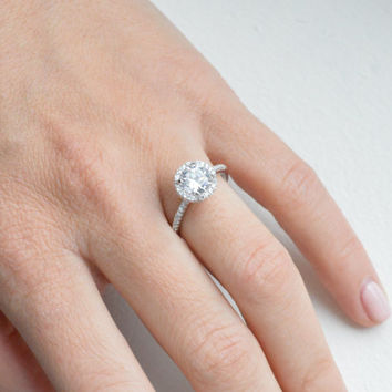 Round Brilliant Engagement Ring, Sterling Silver Solitaire Engagement Ring, Cubic Zirconia Engagement Ring