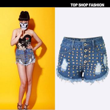 Fashion Sexy rivet hole wear high waist shorts cowboy hot pants