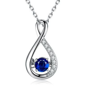 Caperci Sterling Silver Created Blue Sapphire Gemstone Infinity Pendant Necklace Valentines Day Gifts for Women, 18''