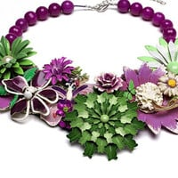 Spring Flower Necklace Collage Collar Bead Style magazine Statement Vintage brooch Butterfly Purple Lime Green Breastplate Lavender vIolet