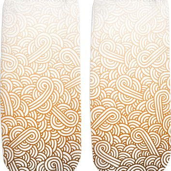 Gradient orange and white swirls doodles Ankle Socks