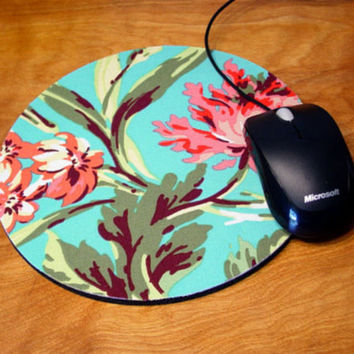 mousepad /  Mouse Pad / Mat - round or rectangle - Bliss Bouquet - Pink / teal / aqua Office Supplies desk office accessory coworker gift