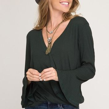 Bell Sleeve Wrapped Tina Top