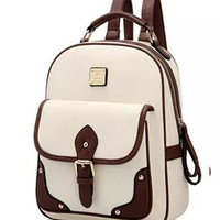 New High Quality Brand Patchwork Women Backpacks Mochila Women's PU Leather Backpack Travel bag School Backpack