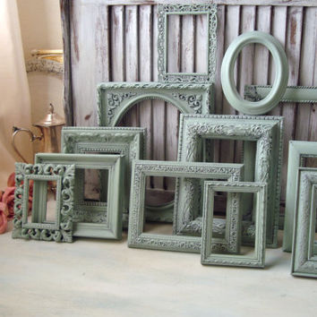 Sea Glass Green Painted Frames, Set of 12 Light Green Vintage Up Cycled Picture Frames, Cottage Chic Frame Gallery, French Cottage Decor