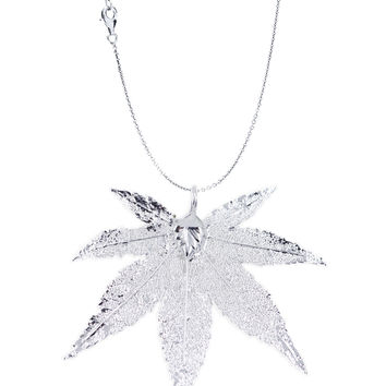 Real Leaf PENDANT with Chain Japanese Maple Dipped in Silver Genuine Leaf Necklace