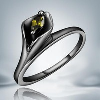 Yellow Stone Black Gold Filled Flower Ring