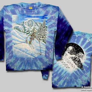 Grateful Dead Powderman Skiing  Tie Dye Long Sleeve Shirt  Size Medium or XL