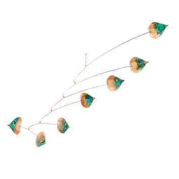 Aspen Leaf Mobile with Patina | copper mobile art