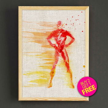 The Flash Watercolor Art Print Justice League Superhero Poster House Wear Wall Art Decor Gift Linen Print - Buy 2 Get FREE - 143s2g
