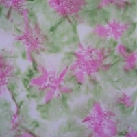 Hand Dyed Fabric - Pastel Rose and Greens - Impressionistic - over one half yard