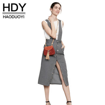 HDY Haoduoyi 2016 Fashion New Women Pockets Black-White Stripes High Waist Midi Pencil Overalls  Casual Suspender Skirt