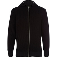 River Island Boys black quilted hoodie
