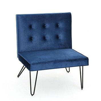 Navy Velvety Soft Upholstered Polyester Accent Chair Black Metal Legs