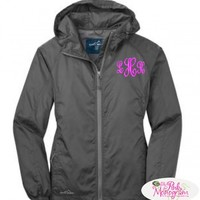 Monogrammed Eddie Bauer Packable Wind Breaker Zip Up in 6 Colors at The Pink Monogram