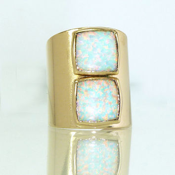 Opal Ring, Gemstones Ring, White Opal Ring, October Birthstone, Gold Opal Statement Ring, Opal Jewelry By Inbal mishan.