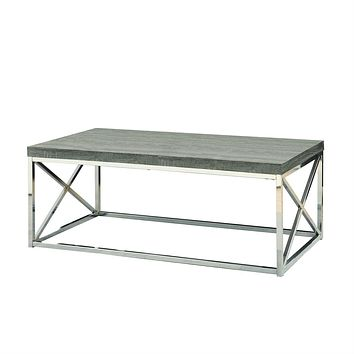 Modern Coffee Table with Chrome Metal Frame and Dark Taupe Wood Top
