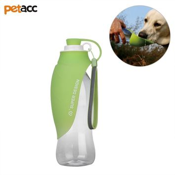 Petacc Practical Pet Drinking Bottle Multi-Functional Pet Outdoor Water Cup Portable Travel Pet Bottle With Leaf Pattern Design