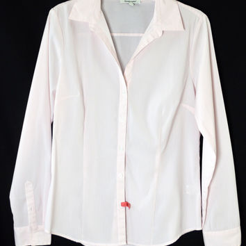 Pink White Stripe Fitted Button Front Shirt Large Career