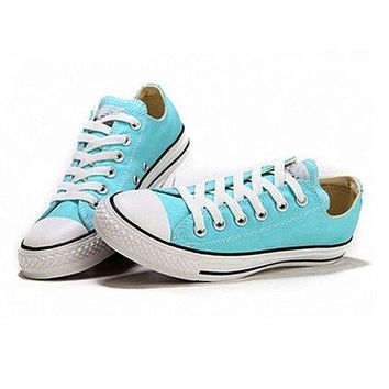 LMFUG7 Converse' Fashion Canvas Flats Sneakers Sport Shoes Low tops Light blue