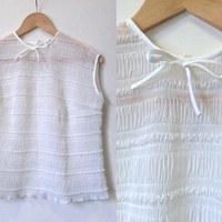 1960s Blouse - Vintage 50s 60s Blouse - White Sleeveless Shell Top - Trevira Georgette - Exc Cond
