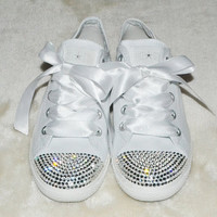 CUSTOM Crystal Wedding Converse White Slim Sole Pumps Flats All Star Bling Sparkly Rhinestone Bride Bridesmaid