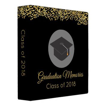 Faux Gold Confetti & Graduation Cap Class of 20xx 3 Ring Binder