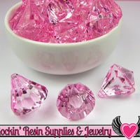 6 Bling Diamond Pendants in Cotton Candy Pink Transparent Faceted Drops 26 x 23mm